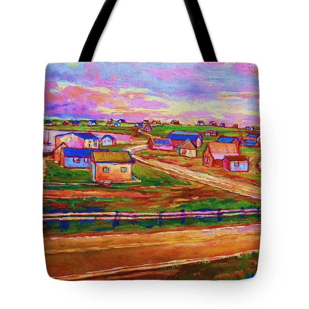 Sunrise Tote Bag featuring the painting Sleepy Little Village by Carole Spandau