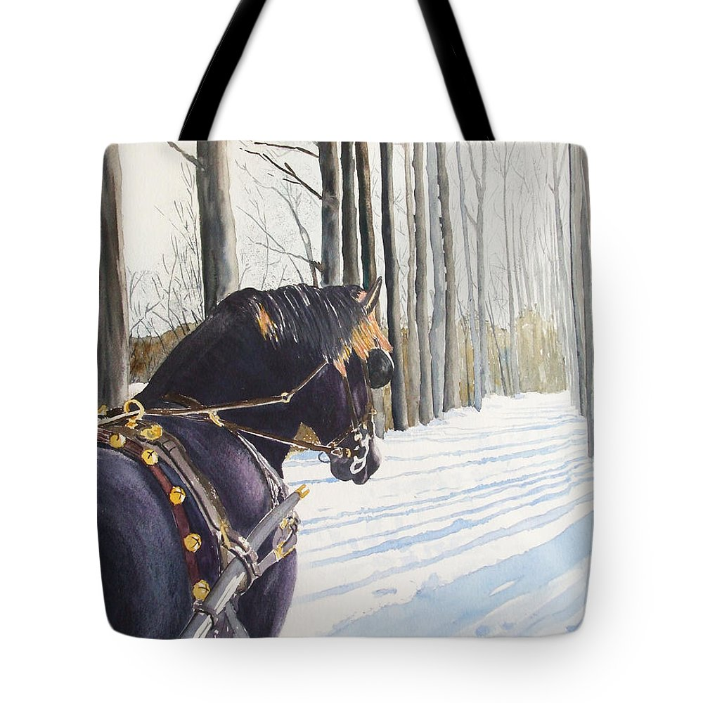 Horse Tote Bag featuring the painting Sleigh Bells by Ally Benbrook