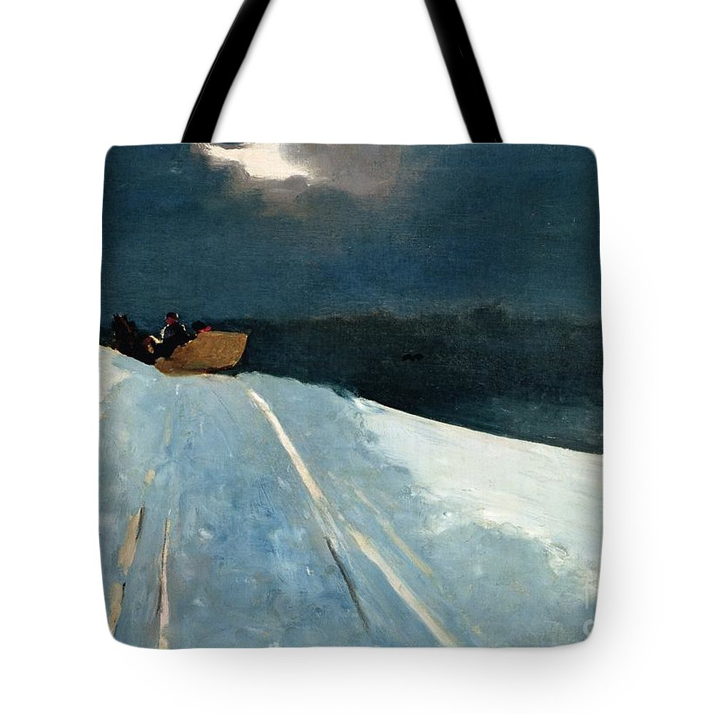 Winter Scene; Wintry; Snow; Snow-covered Landscape; Rural; Remote; Night; Darkness; Tracks; Path; Track; Moonlight; Sledge; Nocturne; Sleigh Ride Tote Bag featuring the painting Sleigh Ride by Winslow Homer