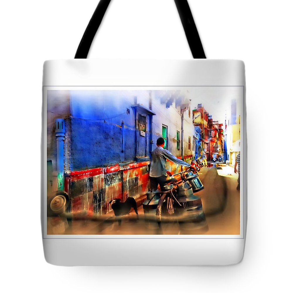 Milkman Tote Bag featuring the photograph Slice Of Life Milkman Blue City Houses India Rajasthan 1a by Sue Jacobi