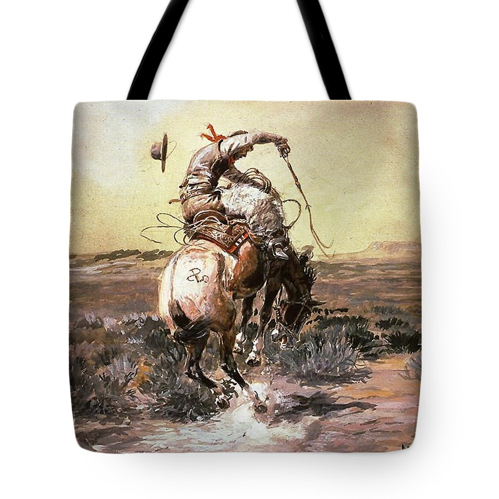 Charles Russell Tote Bag featuring the digital art Slick Rider by Charles Russell