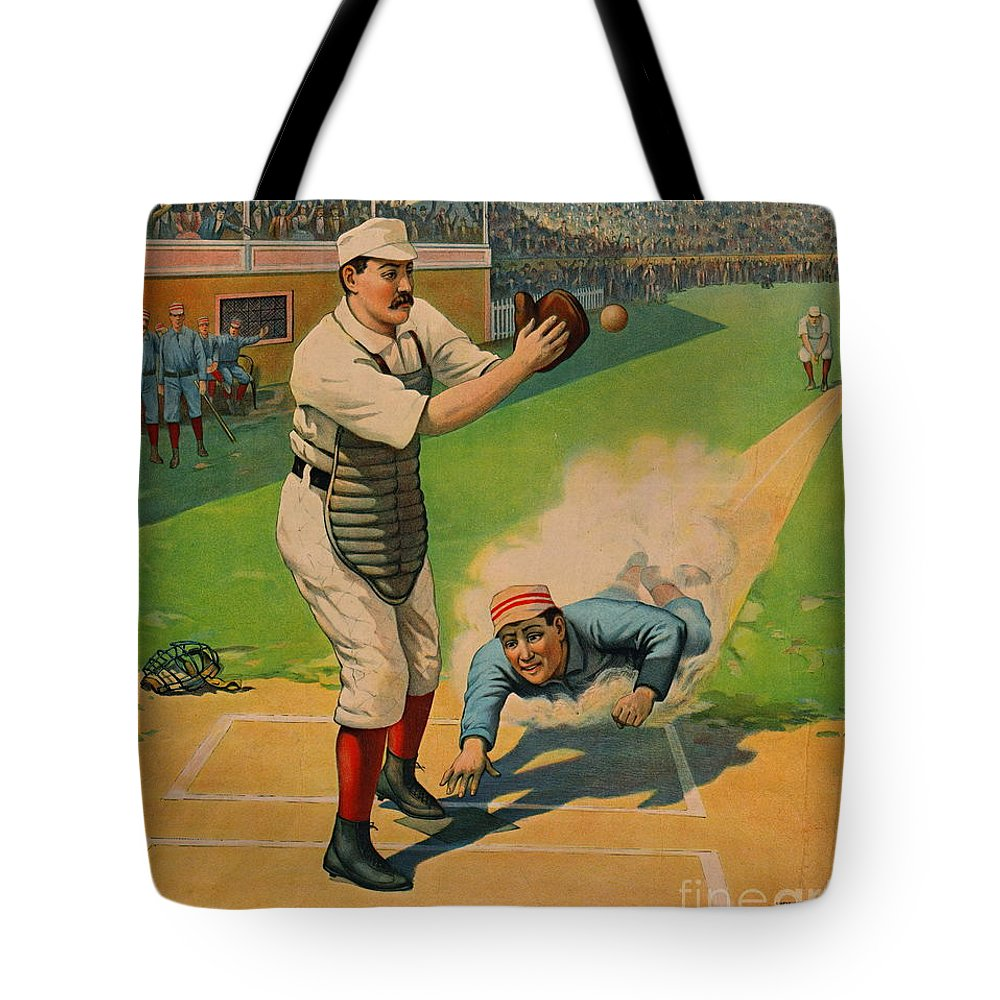 Sliding Home 1897 Tote Bag featuring the photograph Sliding Home 1897 by Padre Art