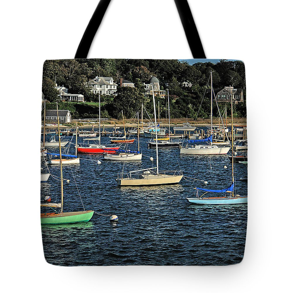 Martha's Vineyard Tote Bag featuring the photograph Sloops At Martha's Vineyard by Michael Ciskowski