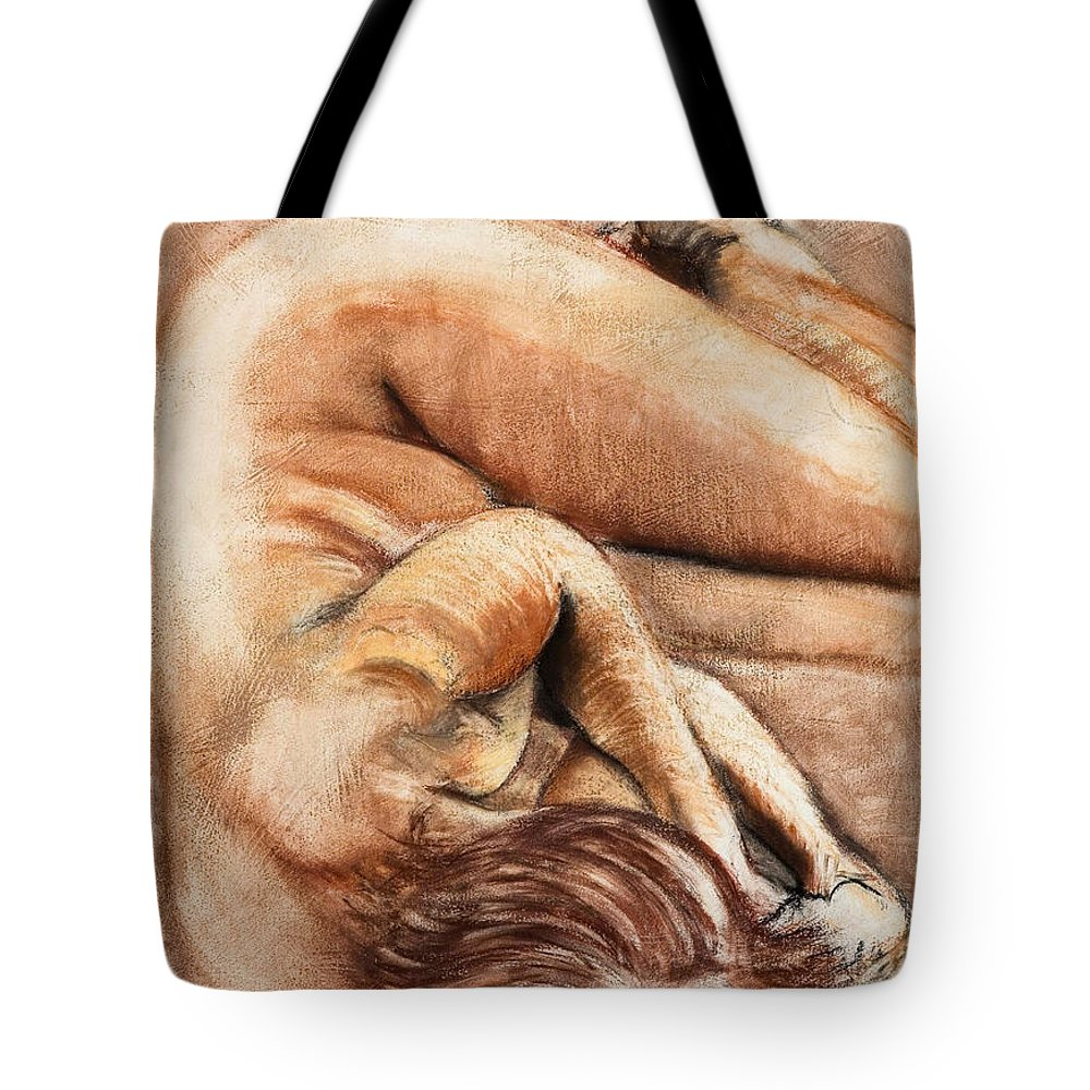 Nude Tote Bag featuring the drawing Slumber Pose by Kerryn Madsen-Pietsch