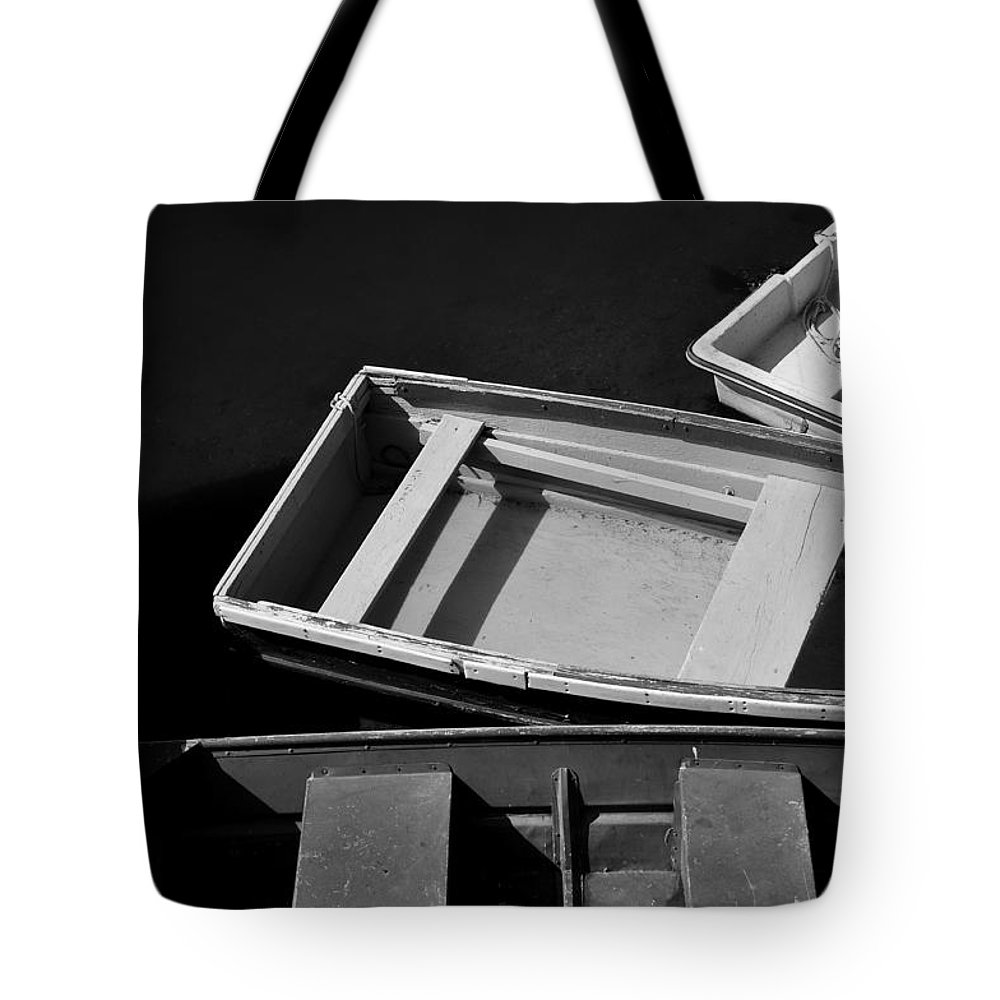 Boat Tote Bag featuring the photograph Small Boats At Dock by Gregory Strong