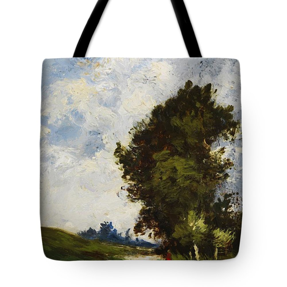 Small Tote Bag featuring the painting Small Floodplain by Dupre Jules