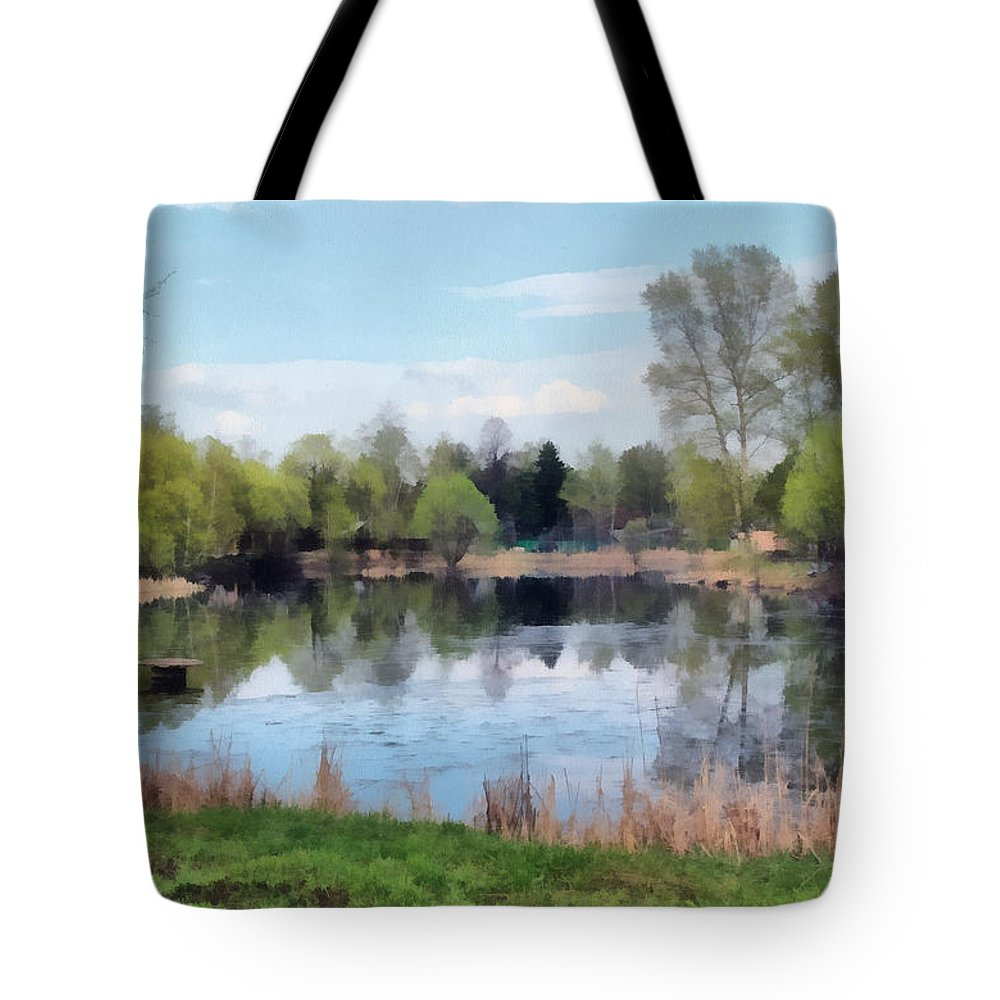 Landscape Tote Bag featuring the painting Small Pond In Tomilino by Sergey Lukashin