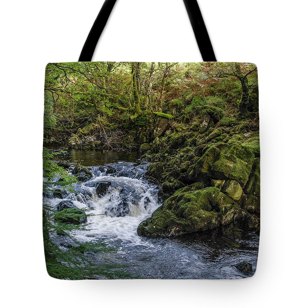 Moss Tote Bag featuring the photograph Small River Cascade Over Mossy Rocks In Northern Wales by Sallye Wilkinson