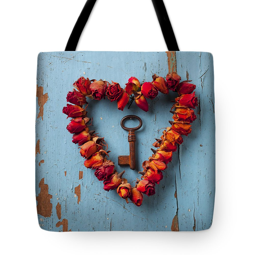 Love Rose Heart Wreath Key Tote Bag featuring the photograph Small Rose Heart Wreath With Key by Garry Gay