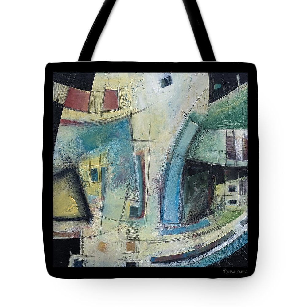 Abstract Tote Bag featuring the painting Small Town Blues by Tim Nyberg