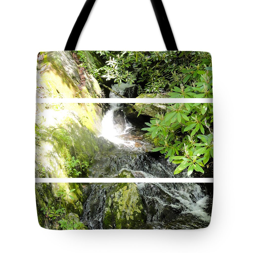 Small Waterfall Smoky Mountains Triptych Tote Bag featuring the photograph Small Waterfall Smoky Mountains Triptych by Cynthia Woods