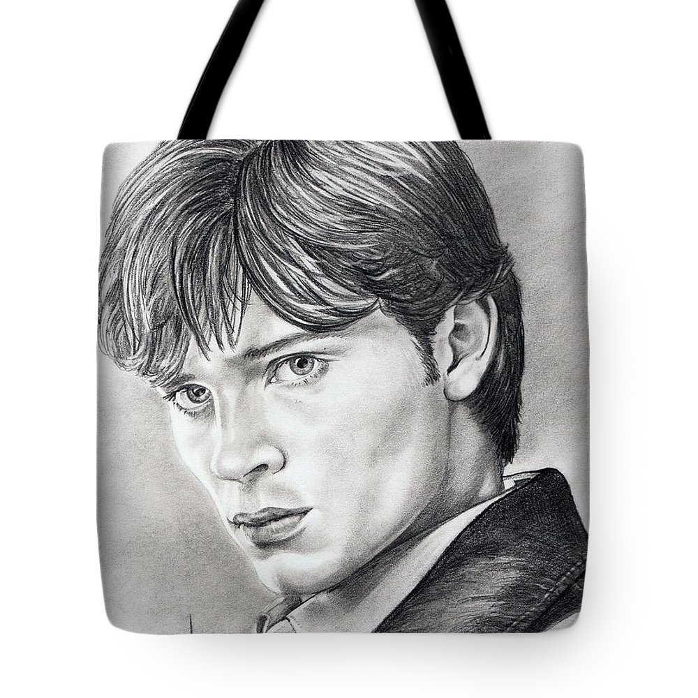 Superman Tote Bag featuring the drawing Smallville Tom Welling by Murphy Elliott