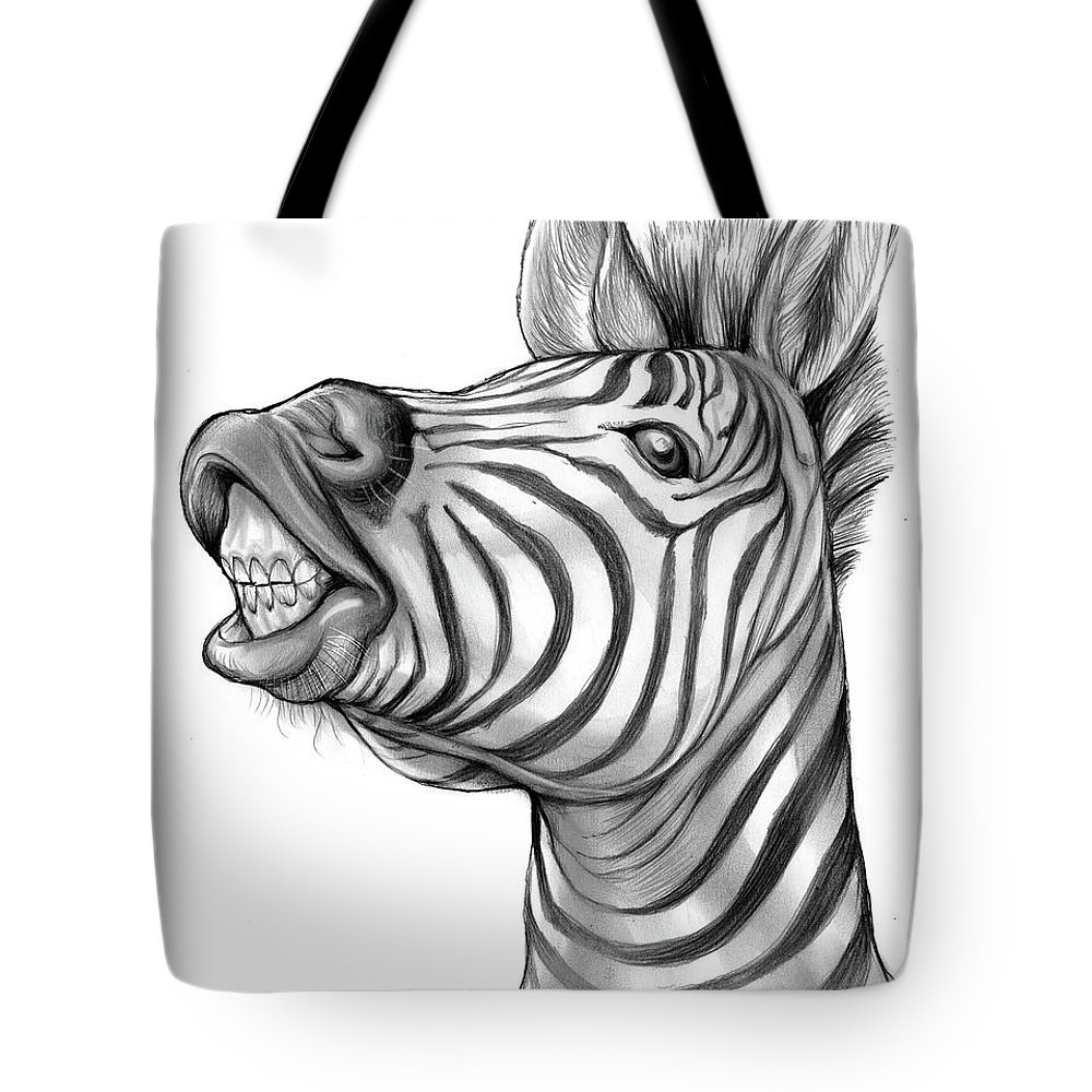Zebra Tote Bag featuring the drawing Smile by Greg Joens
