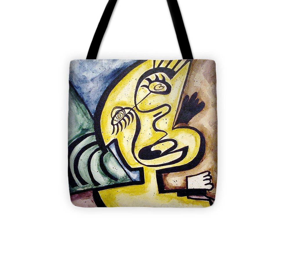 Abstract Faces Tote Bag featuring the painting Smile by W Todd Durrance