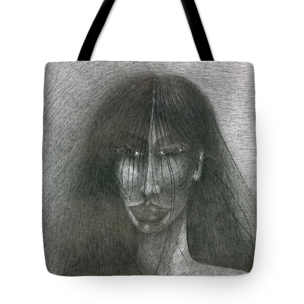 Psychedelic Tote Bag featuring the drawing Smile by Wojtek Kowalski