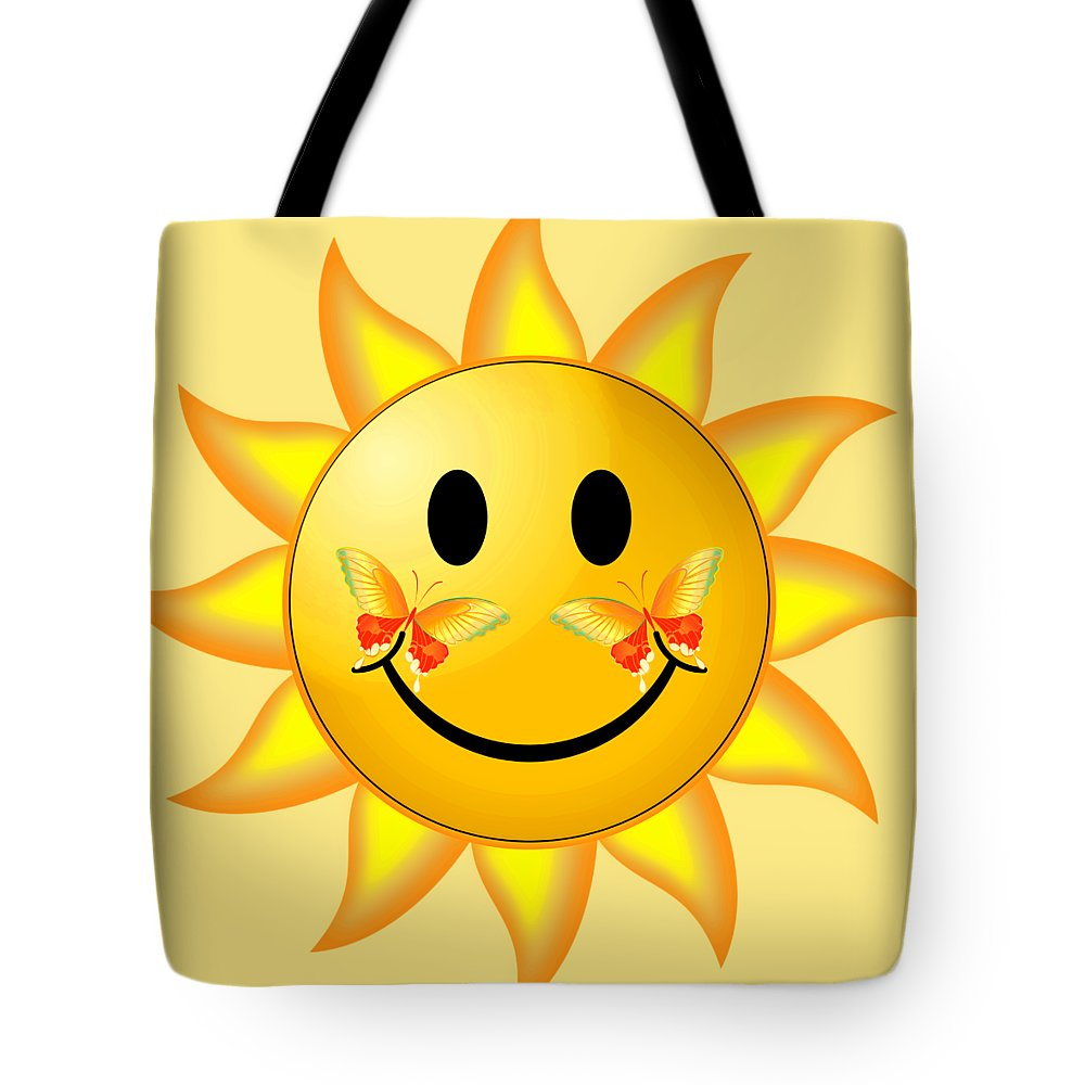 Robert Kernodle Round Beach Towels Tote Bag featuring the digital art Smiley Face Sun by Robert G Kernodle