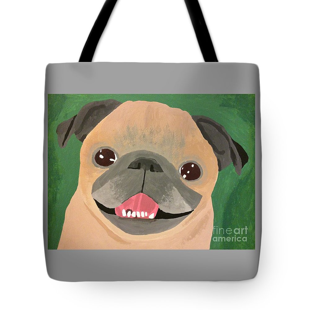 Tote Bag featuring the painting Smiling Senior Pug by Purely Pugs Design