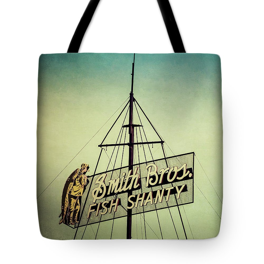 Smith Bros Fish Shanty Tote Bag featuring the photograph Smith Bros Fish Shanty by Joel Witmeyer