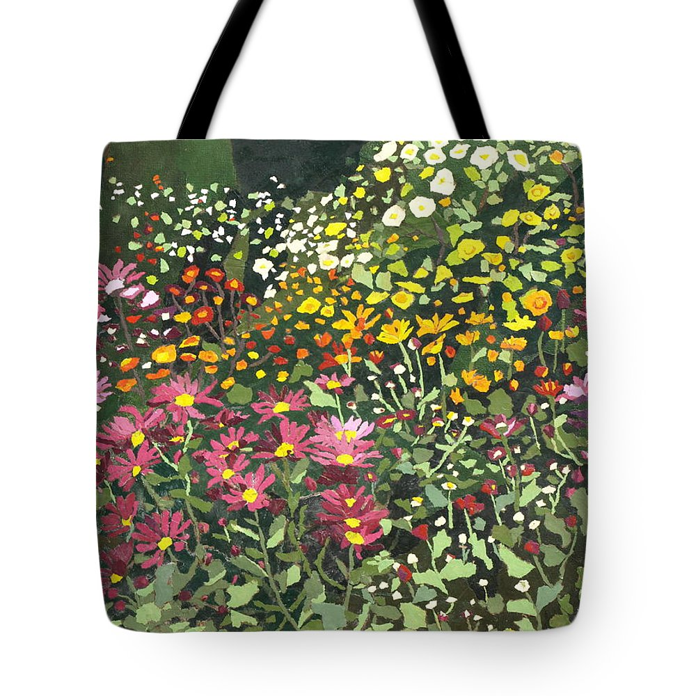 Floral Tote Bag featuring the painting Smith Mums by Leah Tomaino