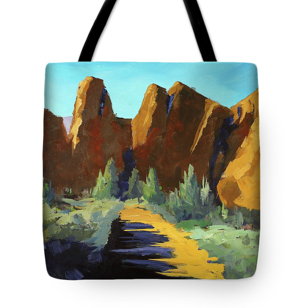 Oregon Landscape Painting Tote Bag featuring the painting Smith Rock by Nancy Merkle