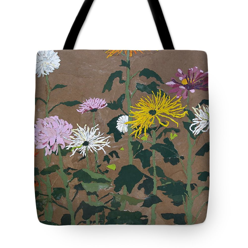 Collage Tote Bag featuring the painting Smith's Giant Chrysanthemums by Leah Tomaino