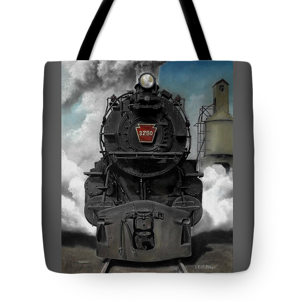Trains Tote Bag featuring the painting Smoke and Steam by David Mittner