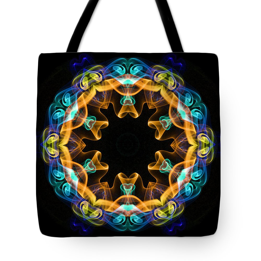 Kaleidoscope Tote Bag featuring the digital art Smoke Art 3 by Digital Crafts