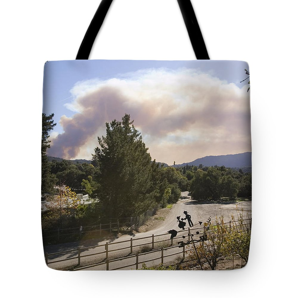 Fires Tote Bag featuring the photograph Smoke From Ventura Wildfire, View by Rich Reid