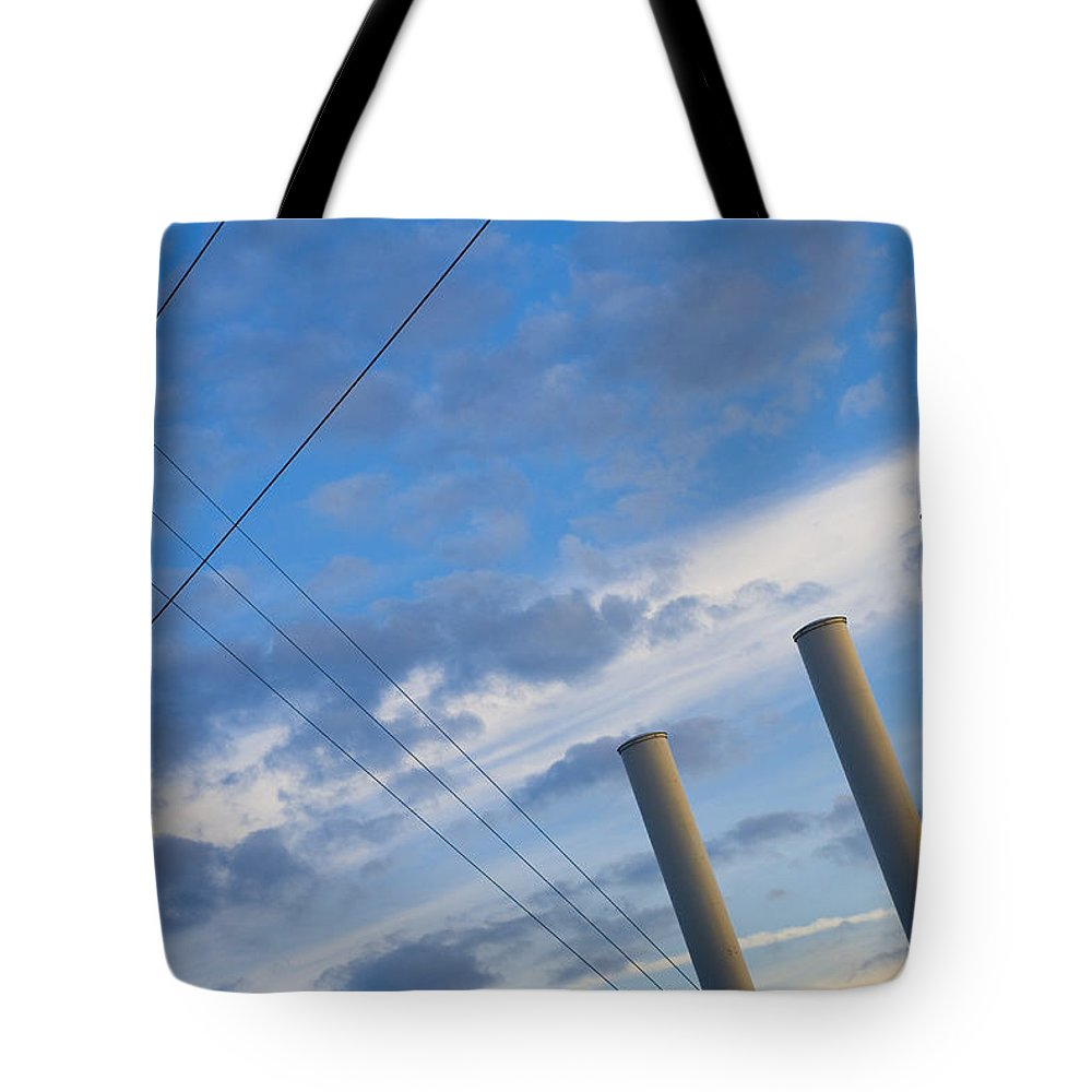 Blue Tote Bag featuring the photograph Smoke Stax by Skip Hunt