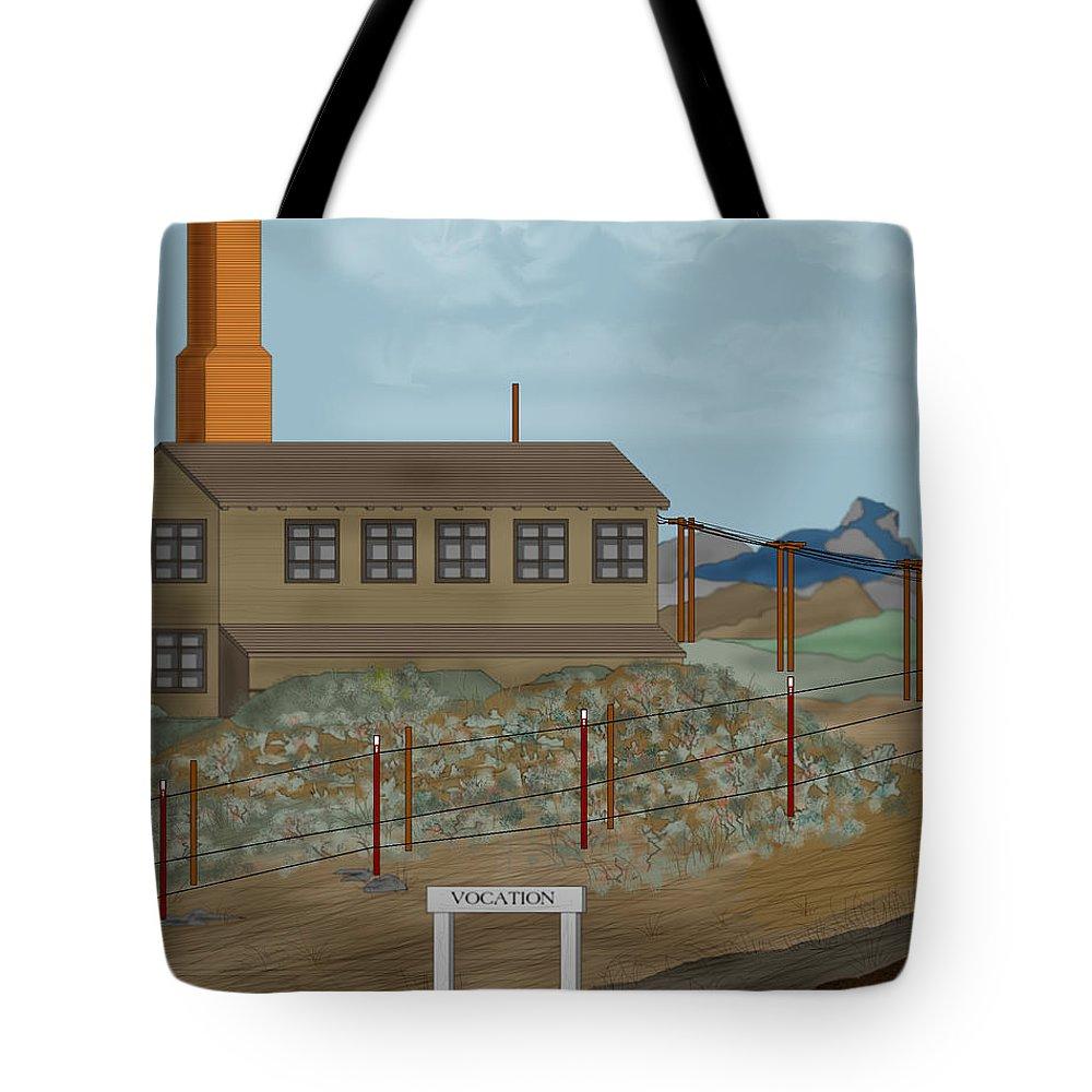 Camp Vocation Tote Bag featuring the painting Smokestack And Heart Mountain At Camp Vocation by Anne Norskog