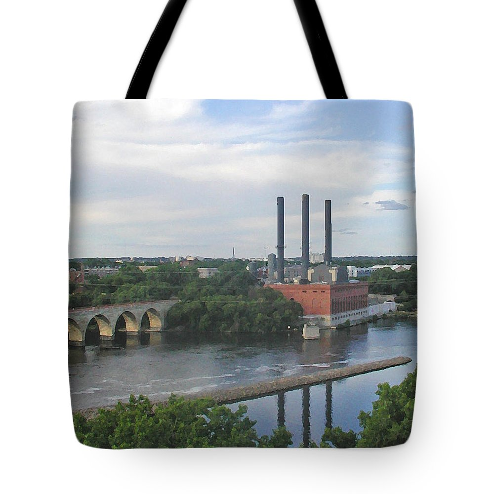 Minneapolis Tote Bag featuring the photograph Smokestacks On The Mississippi by Tom Reynen