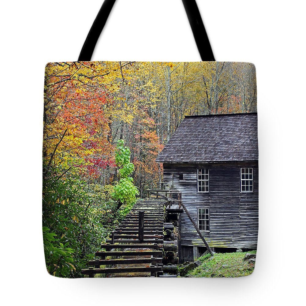 Smokey Mountain Grist Tote Bag featuring the photograph Smokey Mountain Grist Mill by Jennifer Robin