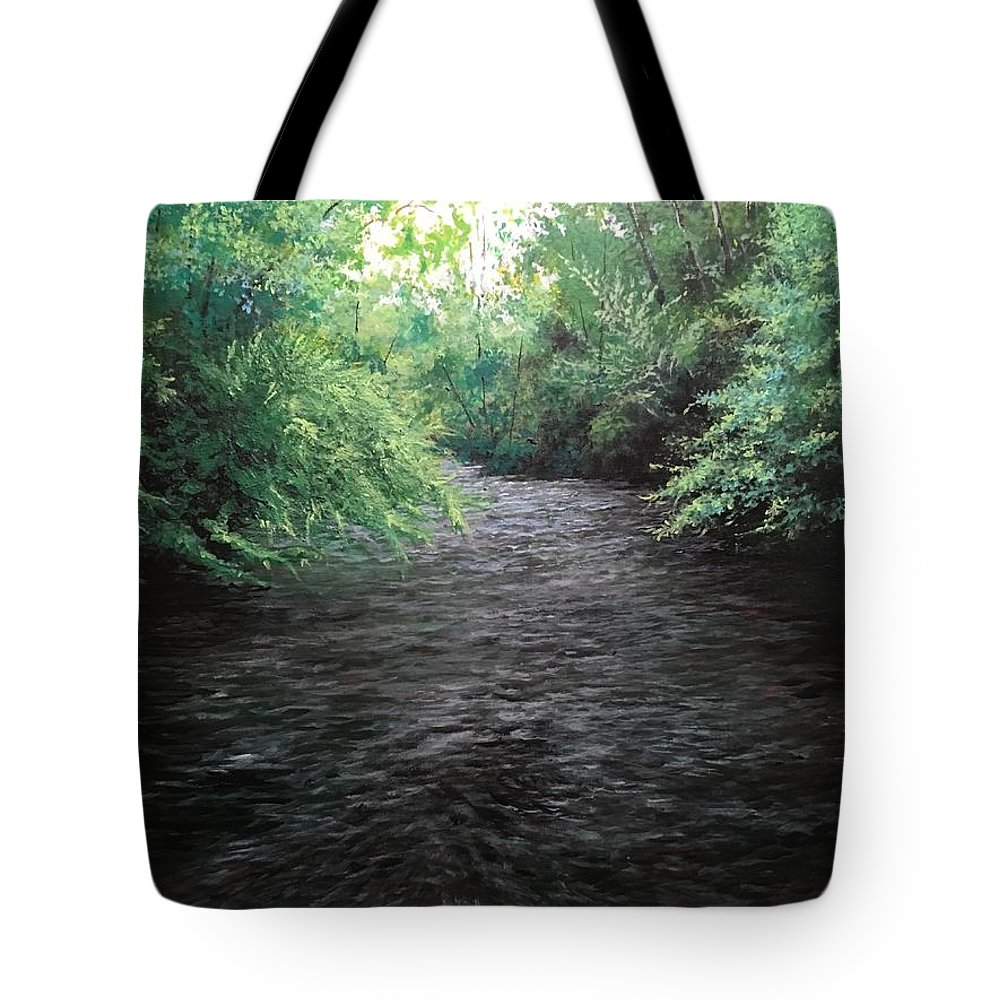 The Streams In The Smokies Tote Bag featuring the painting Smokey River by Joe Bracco