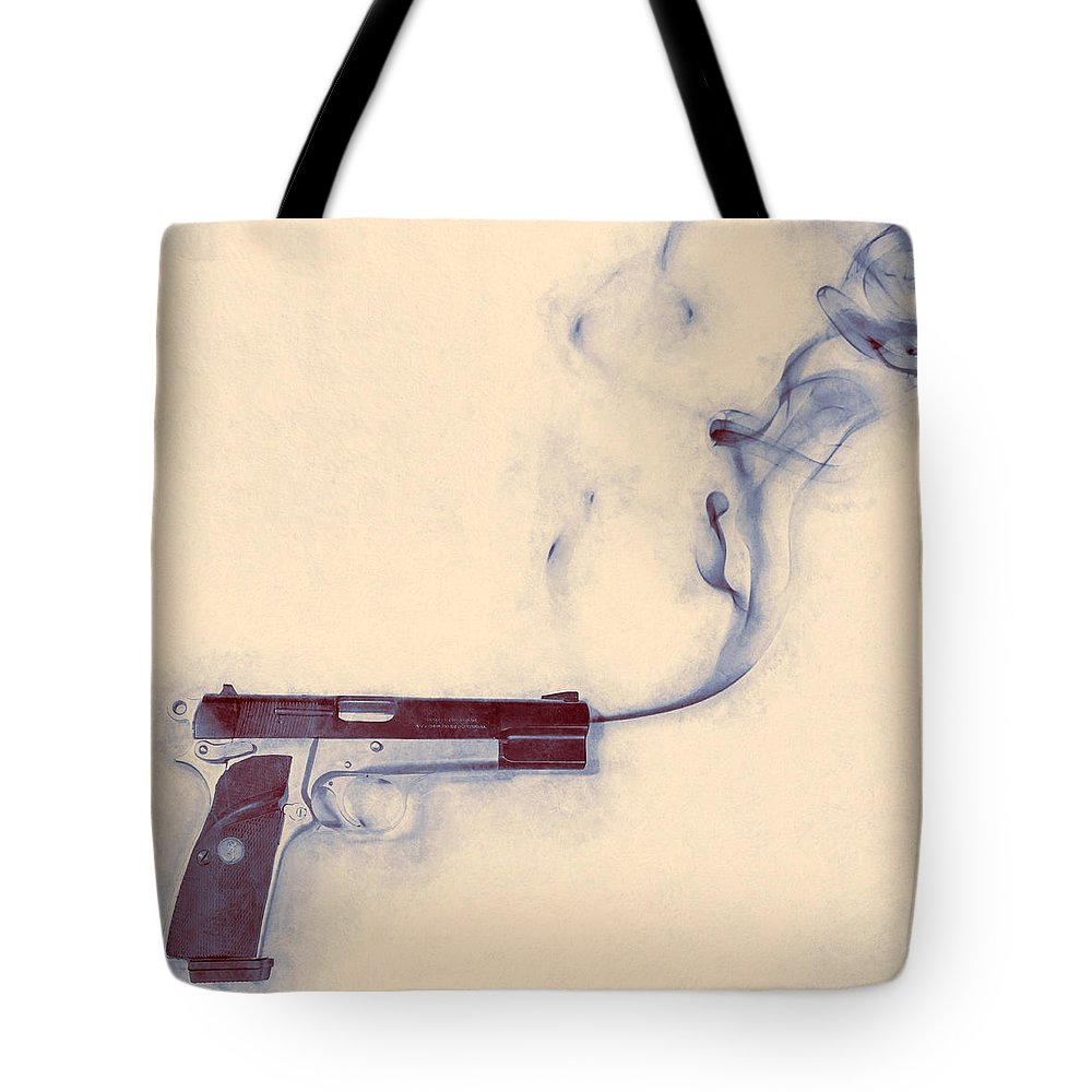 Scott Norris Photography Tote Bag featuring the photograph Smoking Gun by Scott Norris