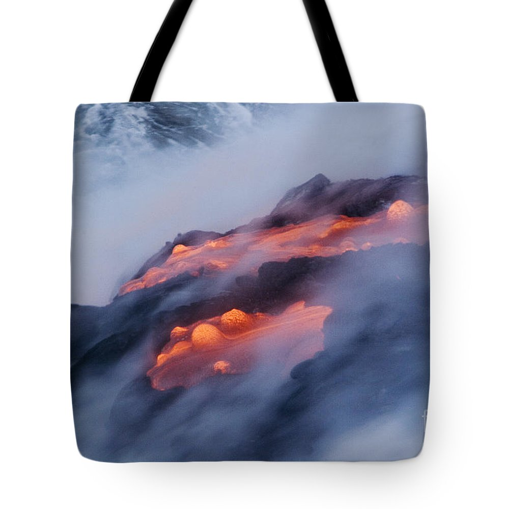 Abstract Tote Bag featuring the photograph Smoking Pahoehoe Lava by Ron Dahlquist - Printscapes