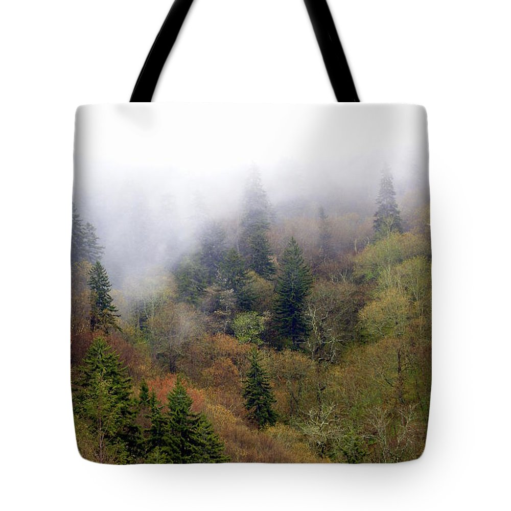 Fog Tote Bag featuring the photograph Smoky Mount Vertical by Marty Koch