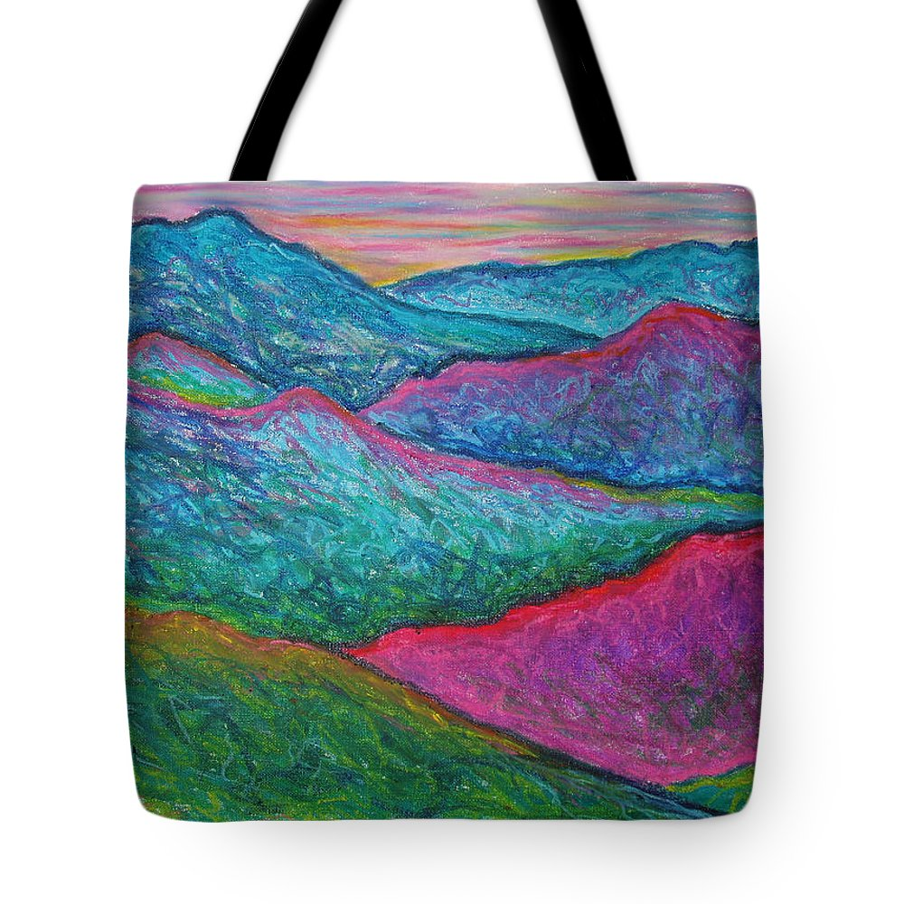 Oil Pastels Tote Bag featuring the painting Smoky Mountain Abstract by Nancy Mueller