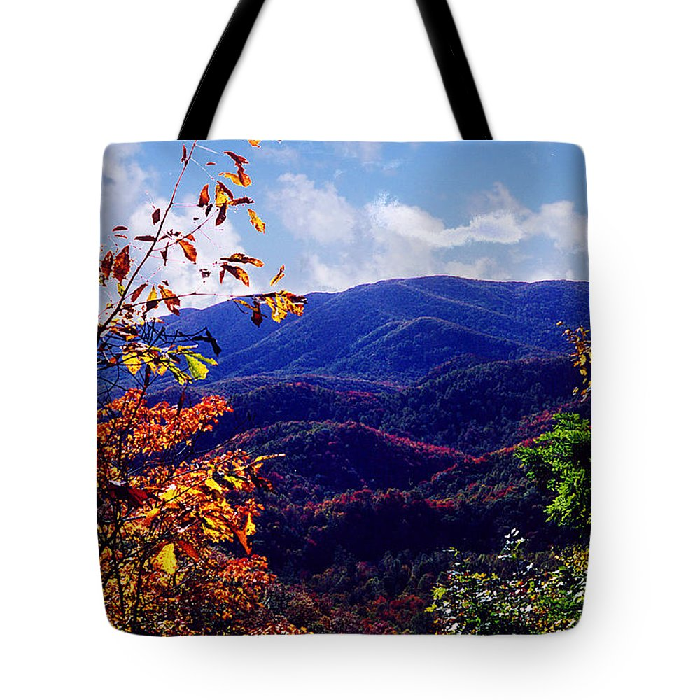 Mountain Tote Bag featuring the photograph Smoky Mountain Autumn View by Nancy Mueller