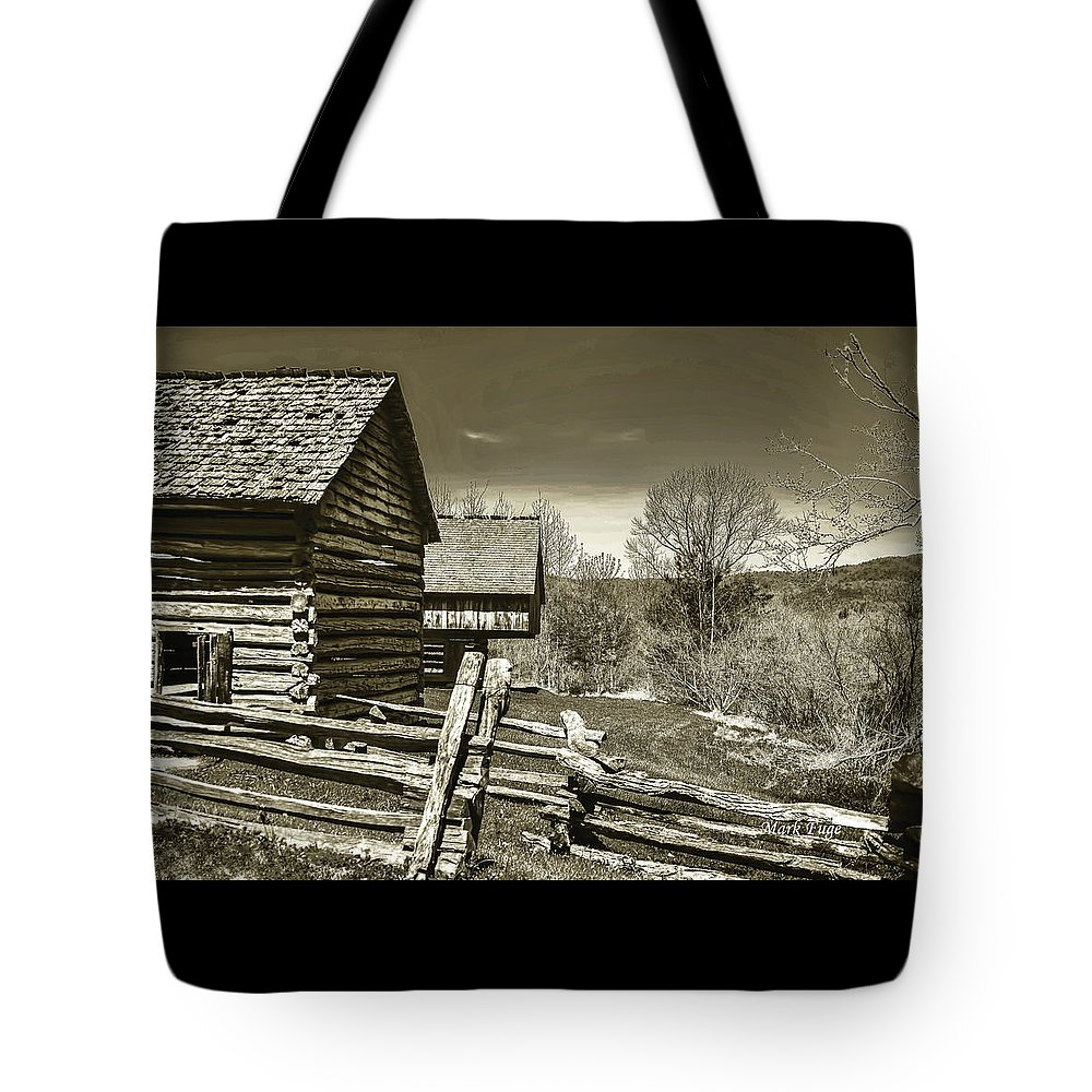 Tennessee Tote Bag featuring the photograph Smoky Mt Homestead - B W by Mark Fuge