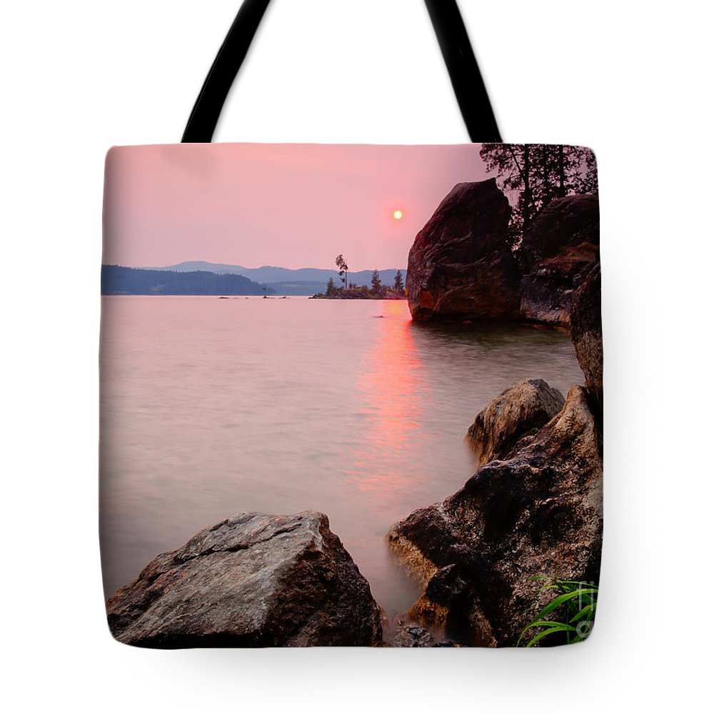 Pink Tote Bag featuring the photograph Smoky Skies by Idaho Scenic Images Linda Lantzy