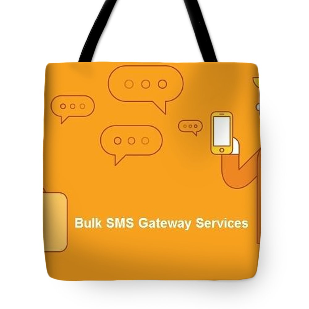 Bulk Sms Tote Bag featuring the digital art SMS Gateway - A smartest way to reach huge audience by Natasha Williams