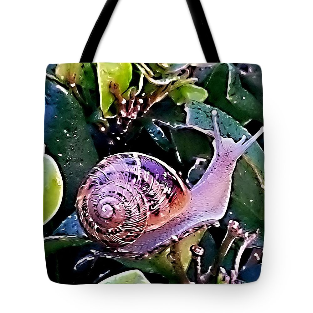 Snail Tote Bag featuring the photograph Snail On A Bush Version 2 by Kristalin Davis