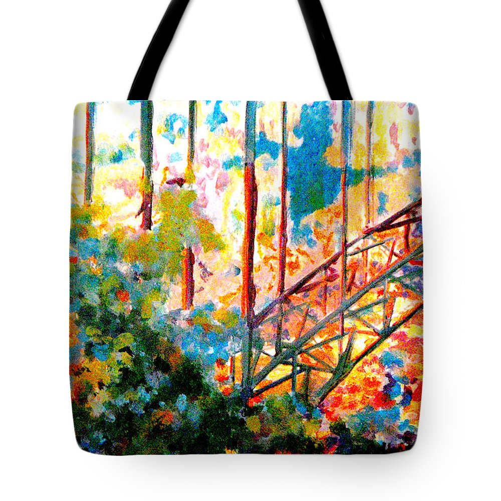 Bridge Tote Bag featuring the painting Snake River Bridge by Catherine Sprague