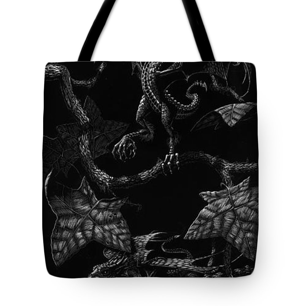 Dragon Tote Bag featuring the drawing Snap Dragons by Stanley Morrison