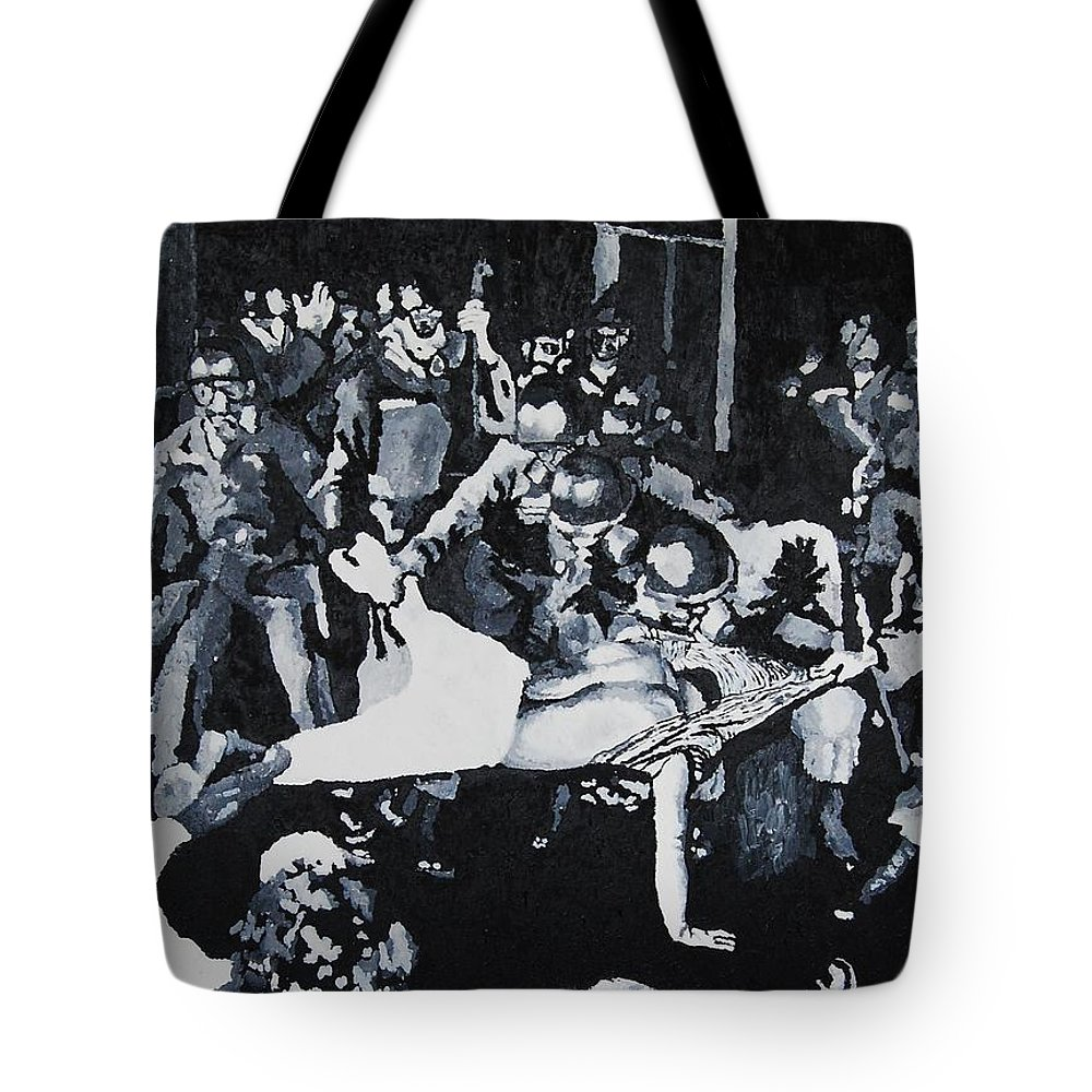 Civil Rights Tote Bag featuring the painting Sncc Photographer Is Arrested By National Guard by Lauren Luna