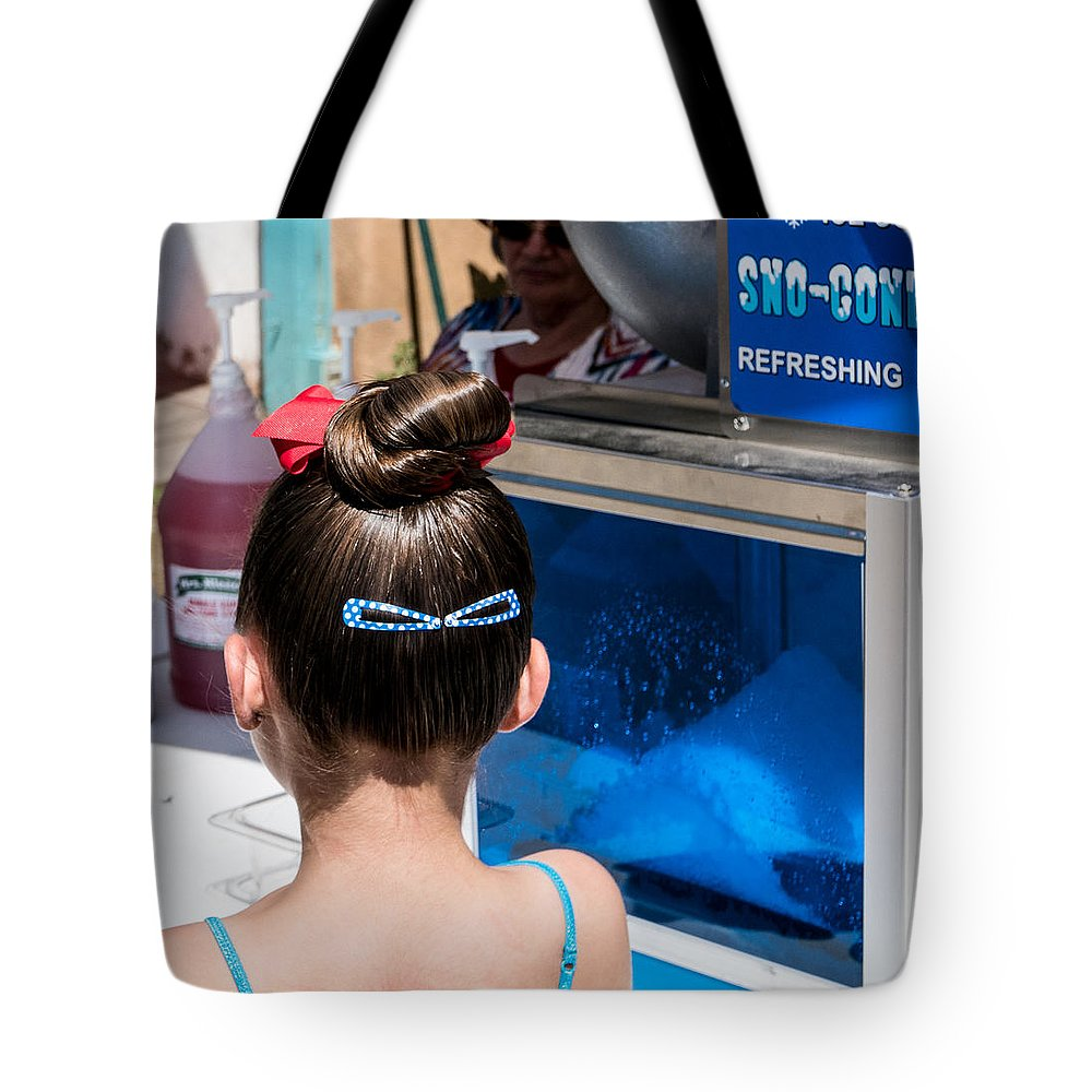 Girl Tote Bag featuring the photograph Sno-cones by Rupert Chambers