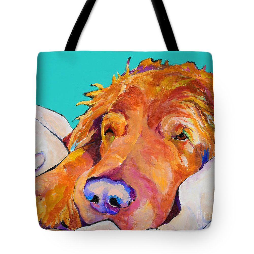 Dog Poortraits Tote Bag featuring the painting Snoozer King by Pat Saunders-White