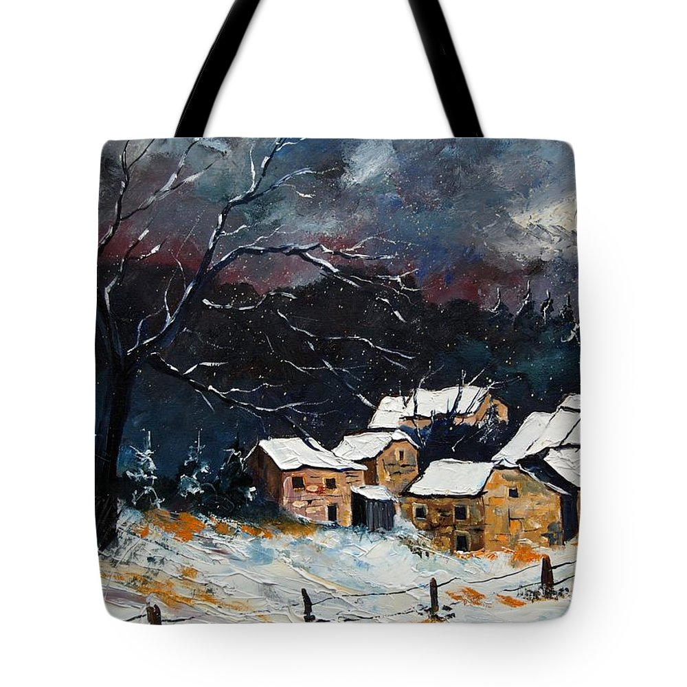 Snow Tote Bag featuring the painting Snow 57 by Pol Ledent
