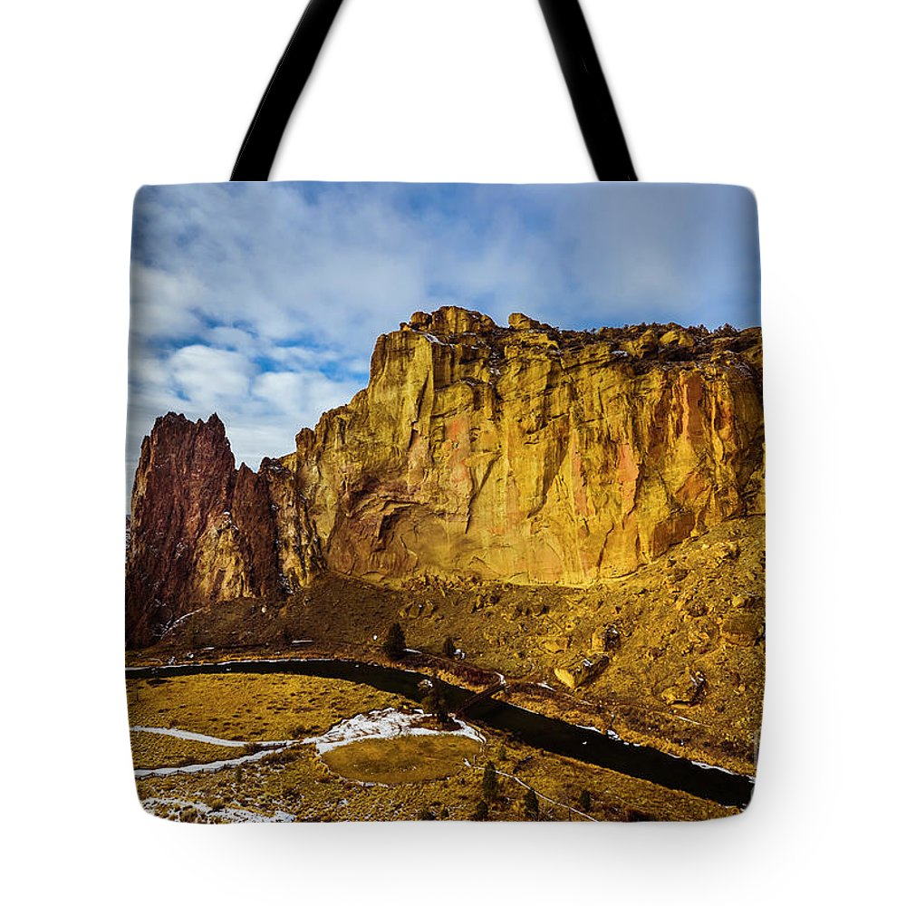 Smithrock Tote Bag featuring the photograph Snow And Sun by Adam Reisman