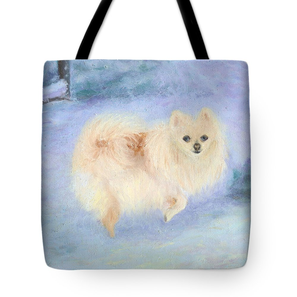 Dog Tote Bag featuring the painting Snow Angel by Paula Emery
